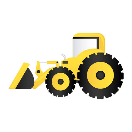 earth mover: color backhoe loader icon, vector illustration image design
