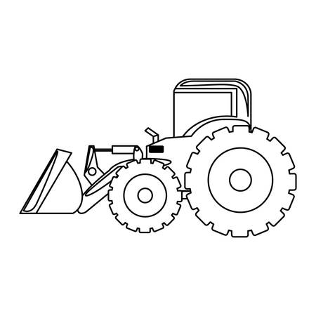 contour backhoe loader icon, vector illustration image design