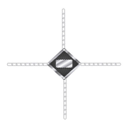 mantrap: silver tools blank warnings with chains icon, vector illustration design