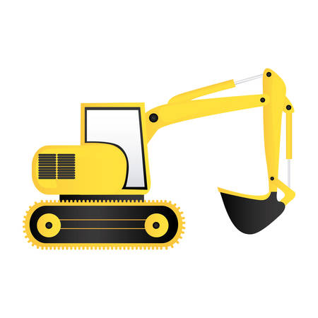 color backhoe loader icon, vector illustration image design