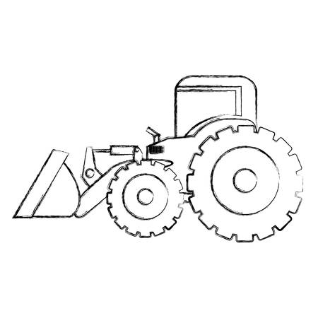 monochrome contour hand drawing of tractor loader with shovel vector illustration