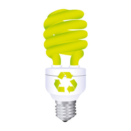 halogen: color silhouette with spiral fluorescent lamp with recycling symbol vector illustration