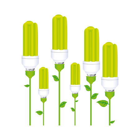 halogen: color background with set of fluorescent lamp with stem and leaves vector illustration