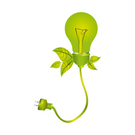 halogen: color silhouette with light bulb with leaves and plug vector illustration