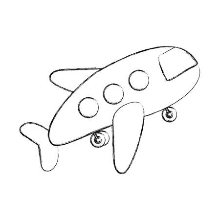 monochrome contour hand drawing of cartoon jet airplane transport icon design vector illustration Illustration