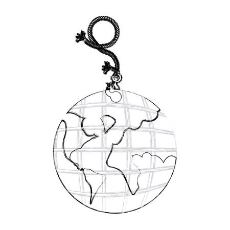 monochrome contour hand drawing of hanging rope with metal hook and earth world map vector illustration Illustration