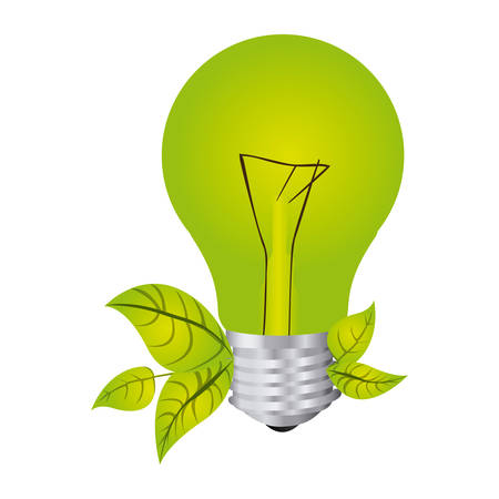 silhouette de couleur avec ampoule et feuilles vector illustration