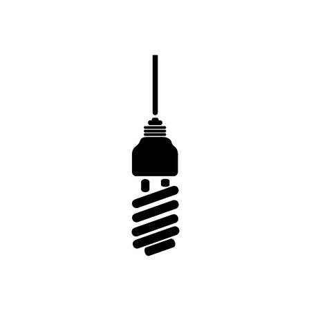 halogen: black silhouette with spiral fluorescent lamp vector illustration