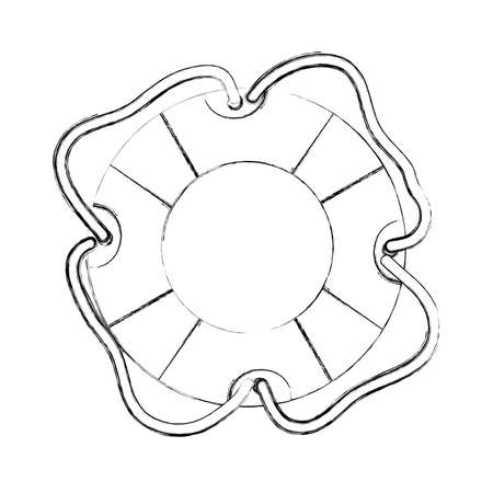 flotation: monochrome contour hand drawing of flotation hoop icon with rope vector illustration