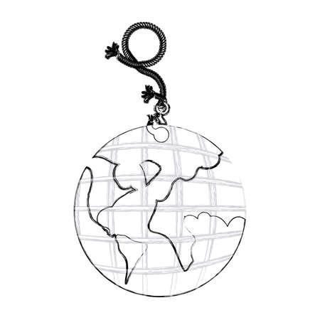 contorno monocromo dibujo a mano de cuerda colgante con gancho de metal y la tierra mapa del mundo ilustración vectorial Foto de archivo