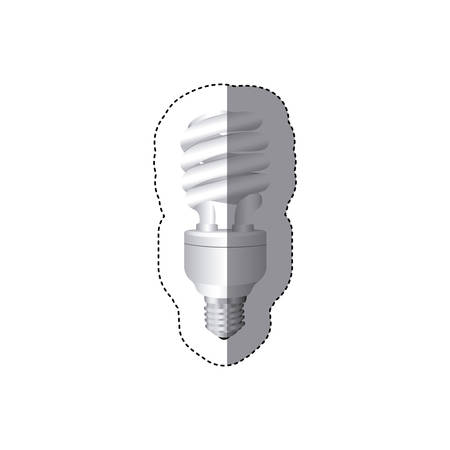 grayscale sticker silhouette with spiral fluorescent lamp vector illustration Illustration