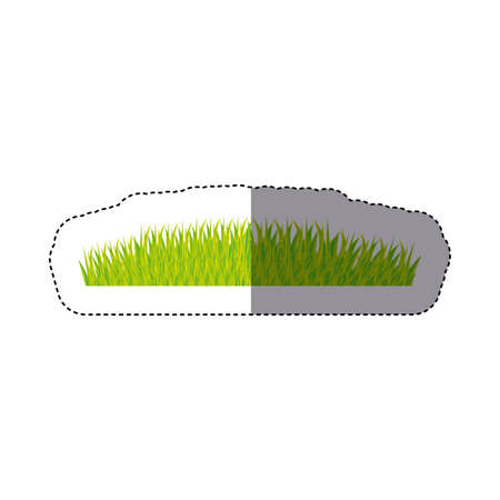 sticker color background with green grass vector illustration Stock Photo