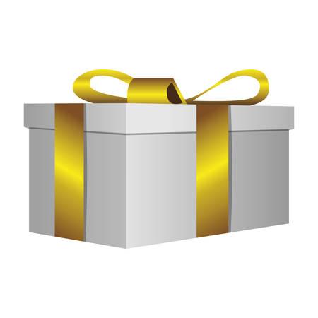 witte geschenk korte vakken met gouden lint pictogram, vector illustratie ontwerp Stock Illustratie