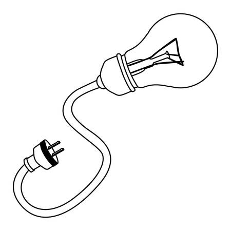 bulb with power cable icon, vector illustration design image