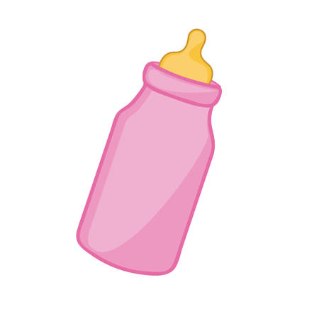 pink feeding bottle icon, vector illustraction design image