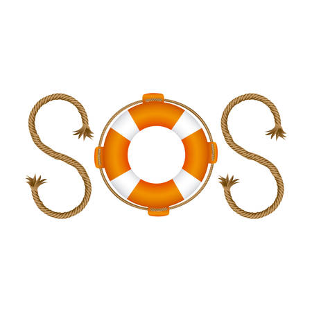 Life belt with rope sos inscription vector illustration