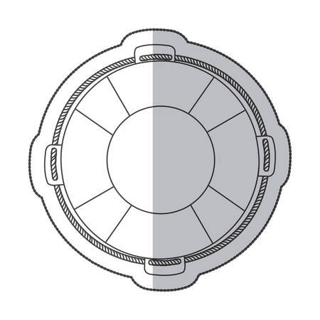 flotation: sticker silhouette flotation hoop with rope vector illustration