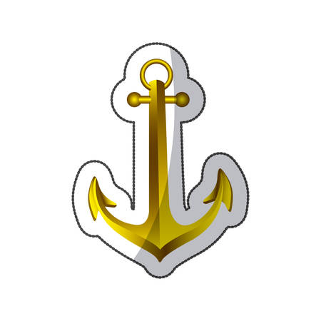 Sticker realistic golden silhouette anchor design vector illustration vector