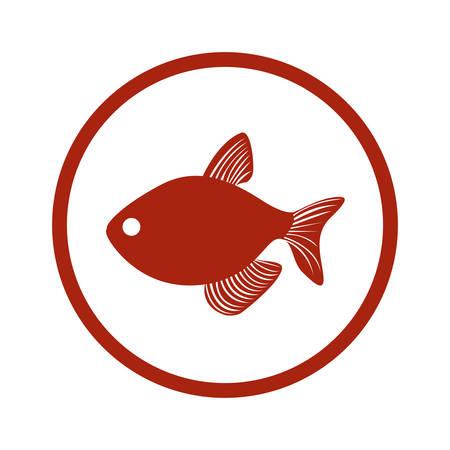red circular border with fish vector illustration