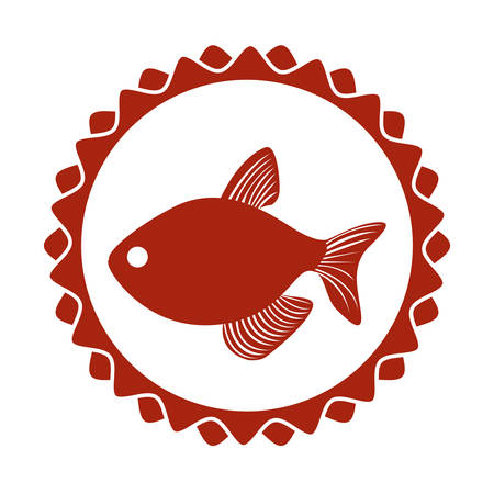 red stamp border with fish vector illustration vector illustration