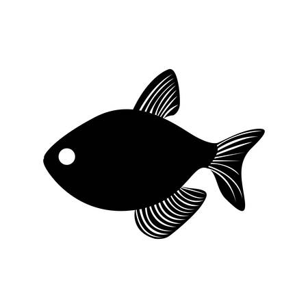 black silhouette graphic with fish vector illustration