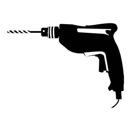 black silhouette with drill tool vector illustration