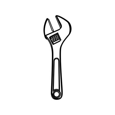 monochrome line contour of wrench tool vector illustration