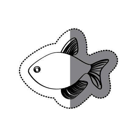 sticker monochrome line contour with fish vector illustration