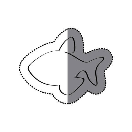 silhouette contour: sticker silhouette with line contour of fish vector illustration