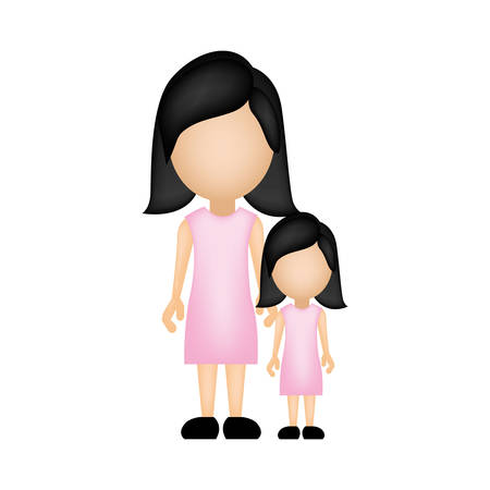 color silhouette faceless with mother and daughter in formal clothes vector illustration