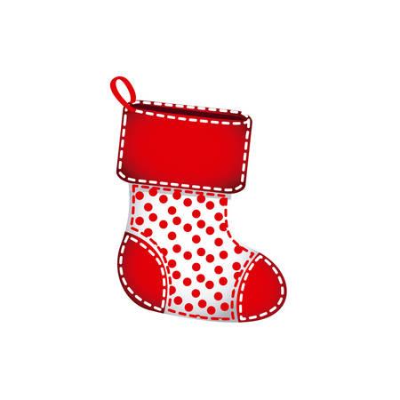 Calcetines de Navidad rojo con piel y puntos rojos ilustración vectorial