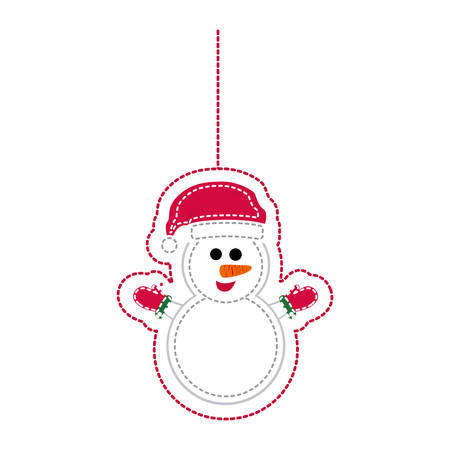 sticker shading snowman with scarf and gloves holding vector illustration