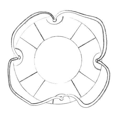 flotation: sketch contour flotation hoop with rope vector illustration Illustration