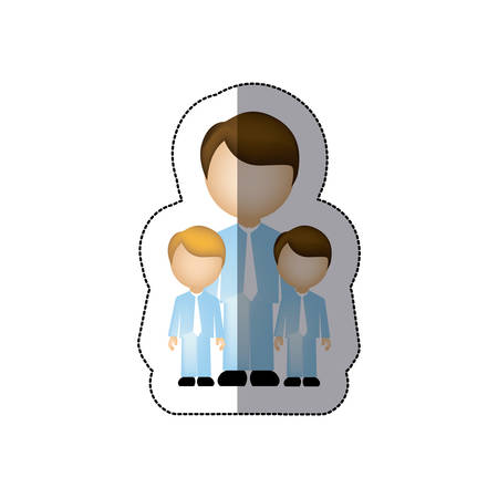 color man her boys twins icon, vector illustraction design image