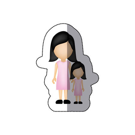 color woman with her daughter, vector illustraction design