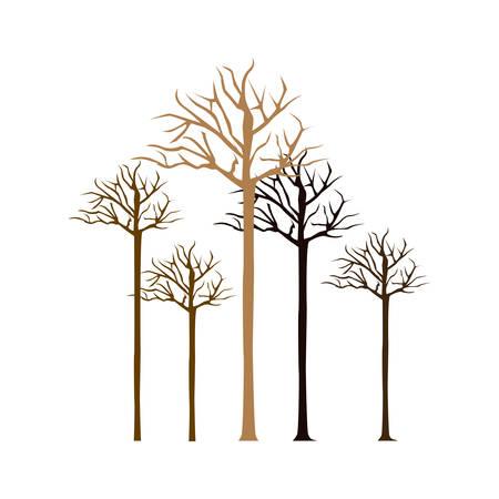colorful bare oak trees icon, vector illustraction design image