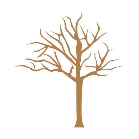 dead tree: color bare oak tree icon, vector illustraction design image