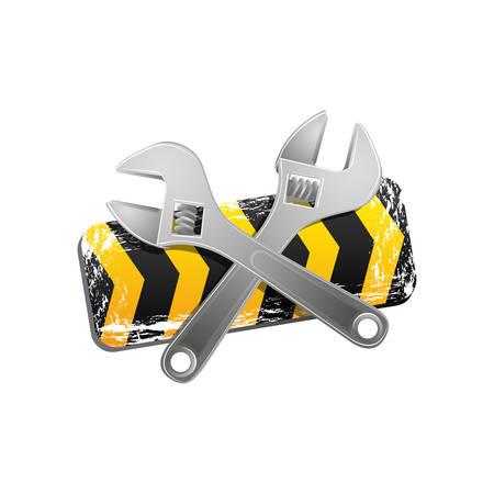 symbol vigilance: yellow caution ribbon with wrench emblem, vector illustraction design image