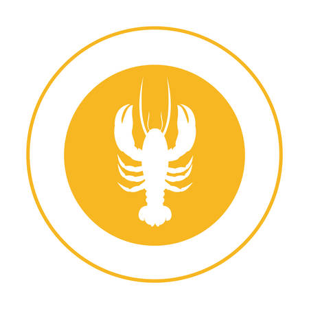 yellow emblem lobster icon, vector illustraction design image