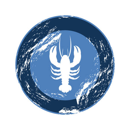 blue emblem lobster icon, vector illustraction design image