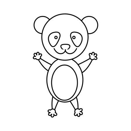 monochrome contour with male panda vector illustration Illustration