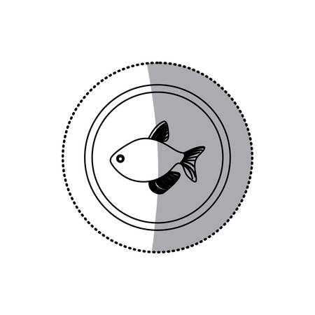 sticker monochrome line contour with fish in circular frame vector illustration