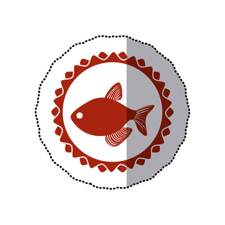 sticker red circular border stamp with fish vector illustration