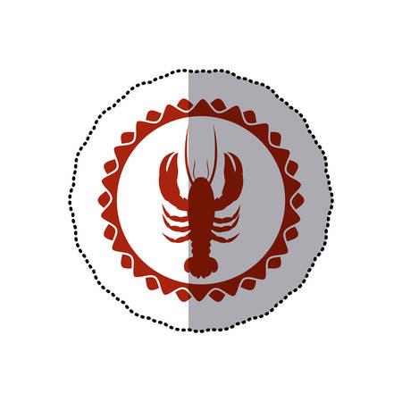 sticker rode stempel rand met silhouet kreeft vectorillustratie Stock Illustratie