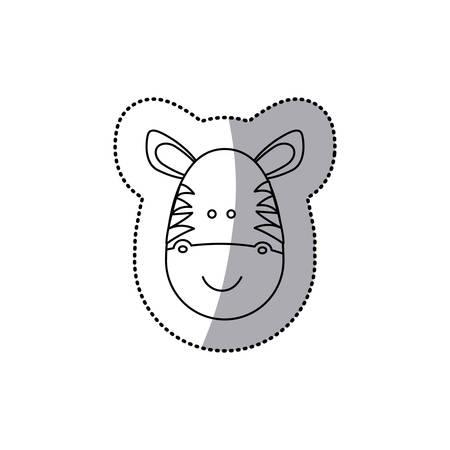 sticker monochrome contour with male zebra head vector illustration