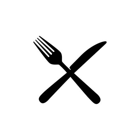 sticker contour knife and fork icon, vector illustraction design image
