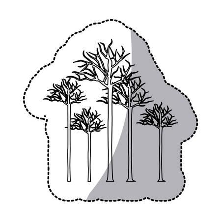 winter garden: figure bare oak trees icon, vector illustraction design image Illustration