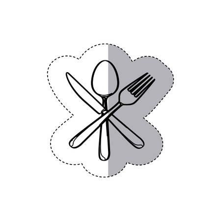 sticker figure cutlery icon, vector illustraction design image Illustration