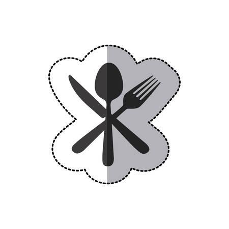 sticker silhouette cutlery icon, vector illustraction design image Illustration