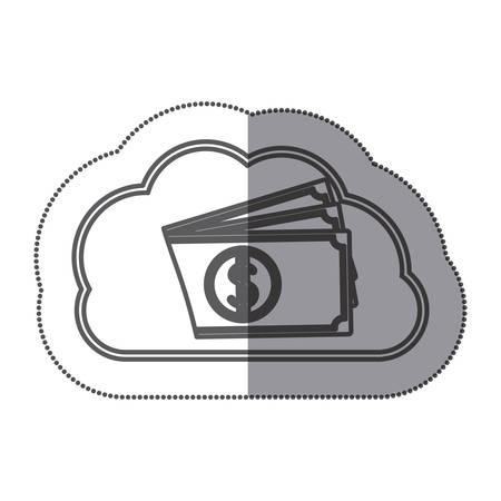 cloud data center with bills icon vector illustration design image Illustration